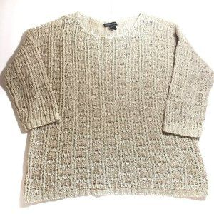 Eileen Fisher XS Open Knit Cotton Linen Sweater